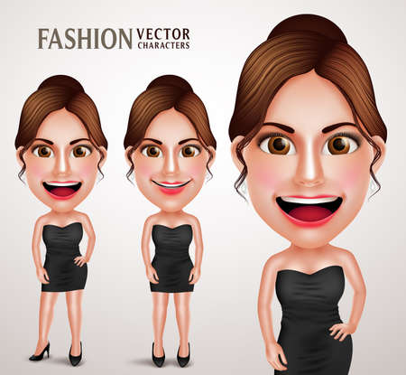 girl happy: Gorgeous Fashionable Woman Vector Character Posing Like Model Wearing Elegant Dress, Good Hairstyle and Makeup. Vector Illustration Illustration