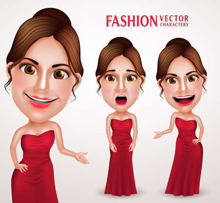sexy blonde girl: Beautiful Woman Vector Character Wearing Red Long Gown Dress, Good Hairstyle and Makeup. Vector Illustration