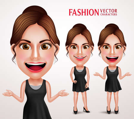casual dress: Fashionable Woman Vector Character Wearing Stylish Casual Dress, Good Hairstyle and Makeup for Lifestyle. Vector Illustration