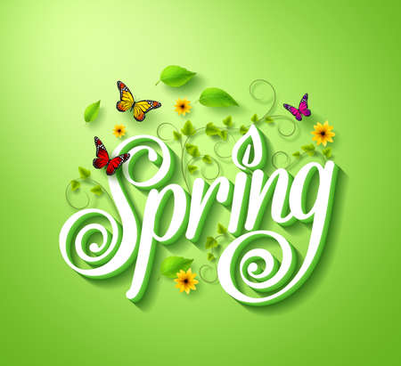 green butterfly: Spring Word Typography Concept in 3D with Flying Butterflies, Plants Vines, Leaves and Flowers Decoration in Green Background. Realistic Vector Illustration Illustration
