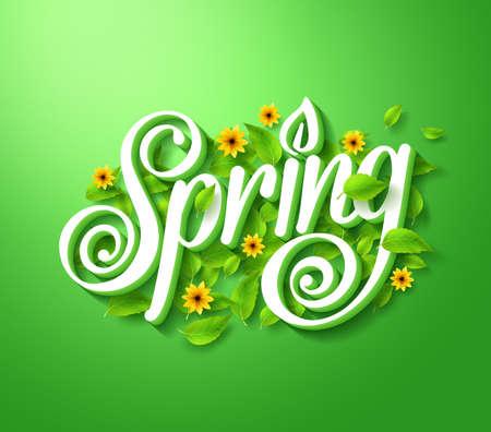 primavera: Primavera tipografía Título Concepto en 3D con sombra larga adornada con las hojas voladoras y flores en el fondo verde. Realista ilustración vectorial
