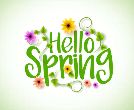 spring: Hello Spring Vector Design with 3D Realistic Fresh Plants and Flowers Elements for Spring Season. Vector Illustration
