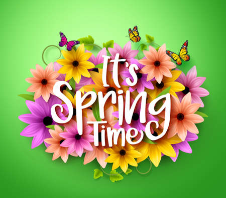 Spring Time Poster Design in Realistic 3D Colorful Vector Flowers Background with Vines for Spring Season. Vector Illustration Vettoriali