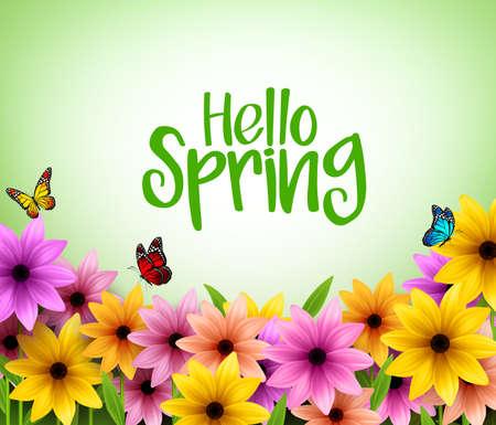Colorful Background Fleurs dans Vector réaliste 3D pour le printemps saison avec un espace pour un message. Vector Illustration Vecteurs