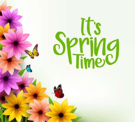 Colorful Flowers Background in 3D Realistic Vector for Spring Season with Space for Message. Vector Illustration