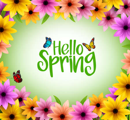 こんにちは春本文の現実的な 3 D ベクトル図に春の色とりどりの花背景フレーム  イラスト・ベクター素材
