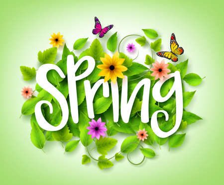 titles: Spring Title Text with Vector Green Leaves in the Background with Colorful Flowers and Butterflies Decoration for Spring Season. 3D Realistic Vector Illustration