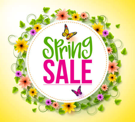 spring: Spring Sale in a White Circle with Wreath of Colorful Flowers, Vines and Leaves with Flying Butterflies for Spring Seasonal Promotion. 3D Realistic Vector Illustration