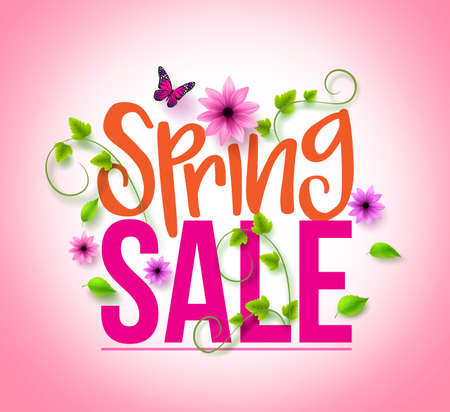 spring season: Spring Sale Design with Colorful Flowers, Vines and Leaves with Flying Butterflies in Background for Spring Seasonal Promotion. Vector Illustration Illustration