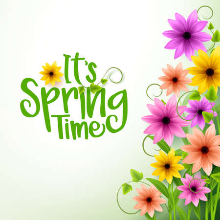リアルな 3 D のカラフルな花およびツルと白い背景のベクトル春時間テキスト。ベクトル図
