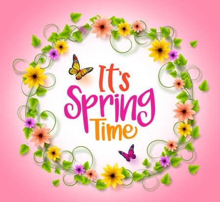 papillon rose: Spring Time dans un cadre de cercle avec la guirlande de fleurs colorées, vignes et feuilles avec des papillons volants en arrière-plan rose. 3D réaliste vecteur Illustration