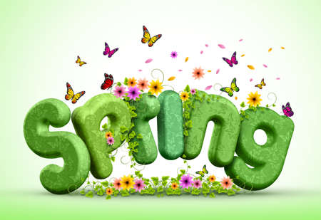 Spring Poster Design Illustration of Spring 3D Rendered Text with Colorful Flowers and Flying Butterflies for Spring Season