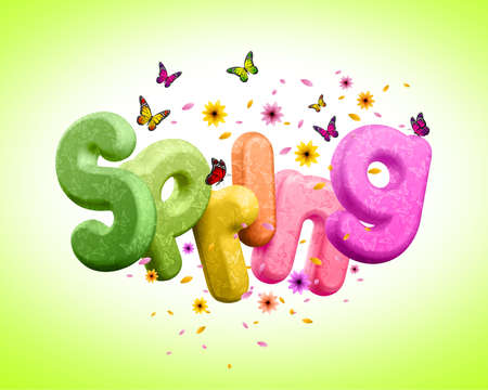 spring: Spring 3D Rendered Text with Colorful Flowers and Flying Butterflies for Spring Season. Spring Poster Design Illustration