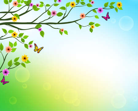 Vector Spring  Background of Tree Branches with Growing Leaves and Colorful Flowers in a Horizon for Springtime or Nature Related Designs. Vector Illustration  イラスト・ベクター素材