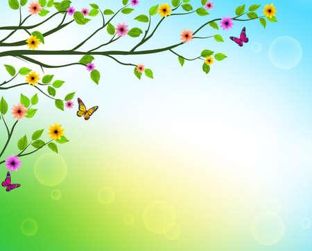 春や自然の葉とカラフルな花、地平線を成長と木の枝のベクトル春背景関連のデザインです。ベクトル図