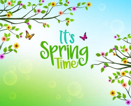 木と色とりどりの花と春の自然を視野に入れた成長葉の春背景関連のデザインです。ベクトル図  イラスト・ベクター素材