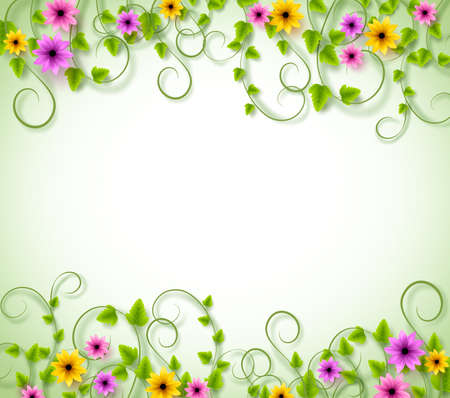 Background for Spring Season with Realistic Colorful Flowers and Leaves with Space for text. Vector Illustration