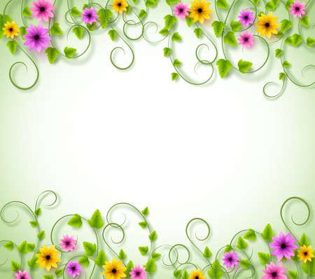 campo de flores: Antecedentes para la temporada de primavera con flores de colores realistas y de hojas con espacio para texto. Ilustración del vector Vectores