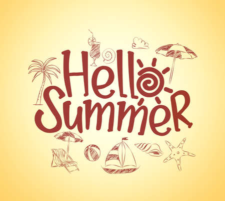 Simple Hello Summer Poster Design with Hand Drawing Vector Elements and Decoration of Summer Items in Yellow Background. Vector Illustration Vettoriali