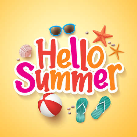 Hello Summer Text Title Poster Design with Realistic 3D Vector Elements and Decorations in Yellow Background. Vector Illustration  イラスト・ベクター素材