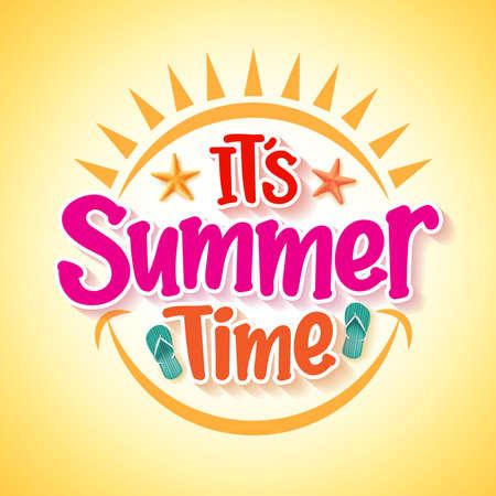Diseño del cartel con el horario de verano feliz y concepto de la diversión con elementos del vector 3D realista y decoraciones en fondo amarillo. Ilustración del vector Ilustración de vector