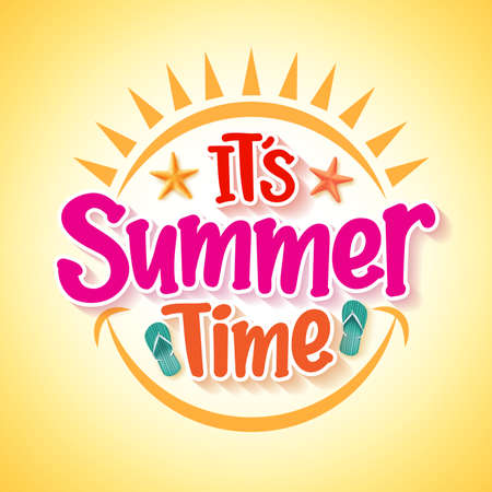 diversion: Diseño del cartel con el horario de verano feliz y concepto de la diversión con elementos del vector 3D realista y decoraciones en fondo amarillo. Ilustración del vector