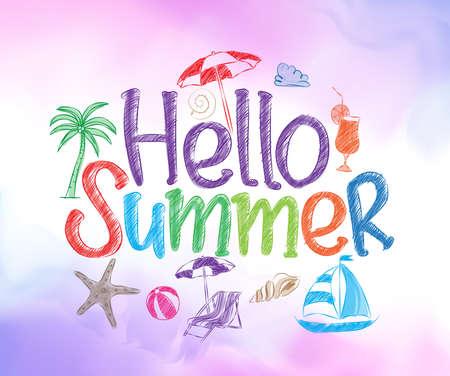 Hallo Sommer bunten Entwurf mit Handzeichnung Vektor-Elemente und Dekoration des Sommers Artikel in einem bunten Hintergrund. Vektor-Illustration Vektorgrafik