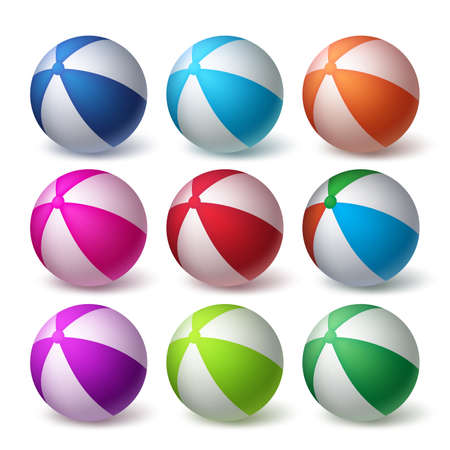 vector set: Beach Balls Vector Set in Colorful 3D Realistic Rubber or Plastic Material Isolated in White Background. Vector Illustration Illustration