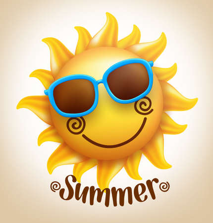 3D Realistic Happy Smiling  Cute Sun Vector with Colorful Sunglasses with Summer Title. Vector Illustration