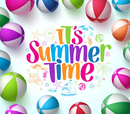 Colorful Beach Balls Background in Vector with Summer Time Title and  Hand Drawing Elements in Center. 3D Realistic Vector Illustration