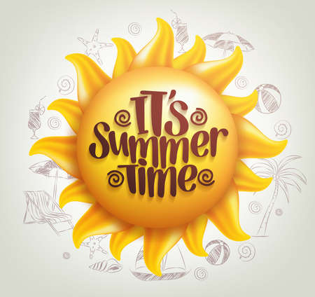 3D Realistic Sun Vector with Summer Time Title in a Background with Hand Drawing Summer Elements. Vector Illustration