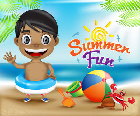 summer fun: Happy Kid Summer Fun and Crab in a Sunny Bright Sky Design Concept Including Beach Elements for Seashore. Vector Illustration Illustration