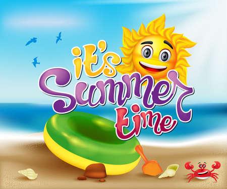 de zomer: Zomertijd Zon karakter in een Blue Ocean met een Krab Illustratie en Shell voor een kleurrijke achtergrond, Vector Illustratie.