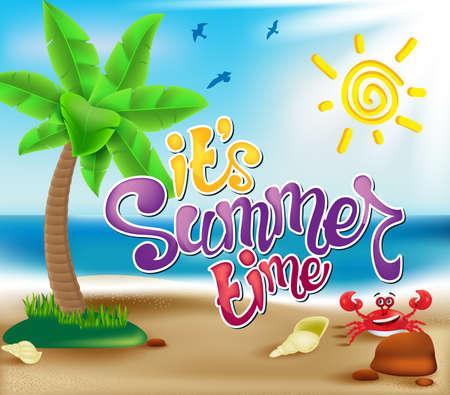 모래에서 팜 쉘 크랩과 함께 다채로운 화창한 날 아래 해변에 의해 해변에서 여름 모험. 벡터 일러스트 레이 션
