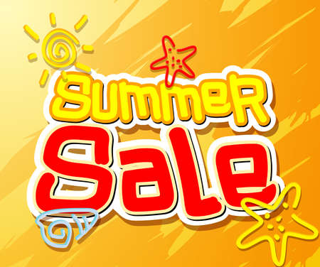 simple background: Summer Sale Text Title with Hand Drawing Vector Elements and Decoration of Summer Sale in Orange Background. Vector Illustration