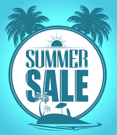 summer trees: Summer Sale Circle in Beach with Palm Trees in Blue Background for Summer Promotion.