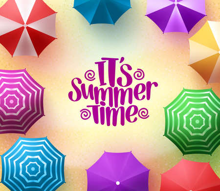 Colorful Beach Umbrellas Background with Summer Time Title in Sea Shore for Summer Season.
