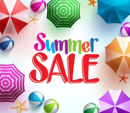 summer beach: Summer Sale in Colorful Umbrella Background with Beach Balls and Starfish for Summer Promotions.