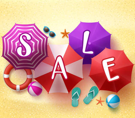 summer holiday: Summer Sale in 3D Realistic Colorful Beach Umbrella in the Sea Shore with Summer Items in the Sand.