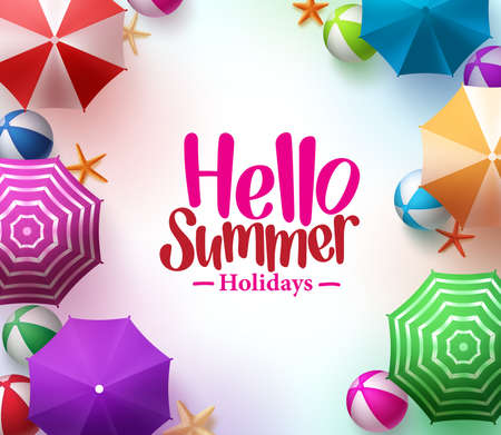 Hello Summer Background with 3D Realistic Colorful Beach Umbrella, Balls and Starfish in White Background for Summer Holidays.