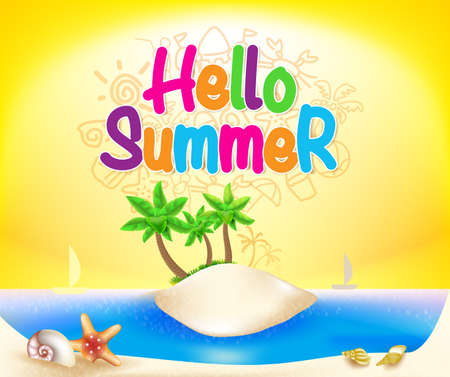 hello: Hello Summer Colorful Design in Island Beach with Sea Shells and Boats in Yellow Background for Summer Season. Illustration