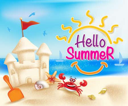 Hallo Sommer-Strand in einem strahlend blauen Himmel mit Sandcastle und Muscheln in einem bunten Meer.