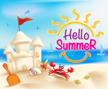 blue  red: Hello Summer Beach in a Bright Blue Sky with Sandcastle and Sea Shells in a Colorful Sea Shore. Illustration