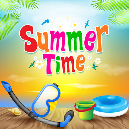 summer time: Summer Time Colorful Design with Snorkel Vector Elements and Decoration of Summer Items in a Colorful Sunset Background. Illustration