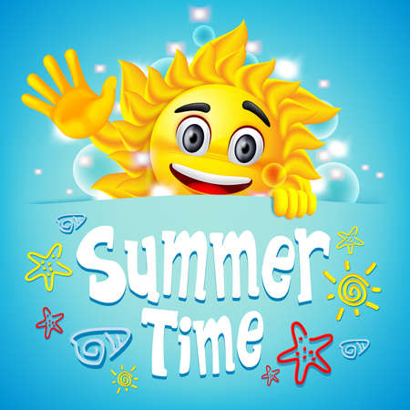 summer time: Summer Time Colorful Design with Happy Sun Character and Summer Elements in a Cool Blue Background.