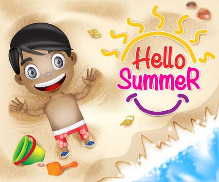 您好夏天愉快的孩子愉快使用在与海壳的海滩沙子背景在海滨。