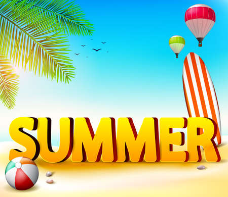 hot summer: Summer Beach Seashore Background with Palm Tree and Beach Ball together with Surfing Board on the Sand with Hot Air Balloon and Birds in the Sky