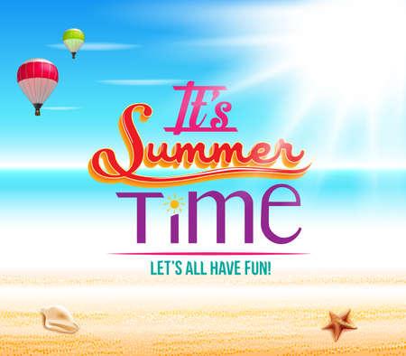 Summer Time in een Seashore met Blue Beach Horizon Vector Illustration Promotional Ontwerp