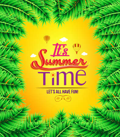 boarder: Summer Time with Palm Tree Leaves Boarder in an Orange Background. Vector Illustration