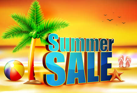 sun rise: 3D Summer Sale Sun Rise at the Beach with Beach Ball the Palm Tree and Starfish with Slippers Vector Illustration Illustration